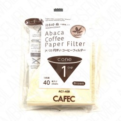 Filtro Papel Cafec Abaca sin blanquear 1 taza (40 unidades)