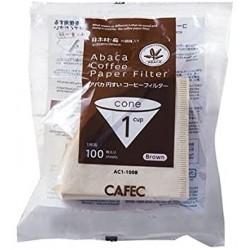 Filtro Papel Cafec Abaca sin blanquear 1 taza (100 unidades)