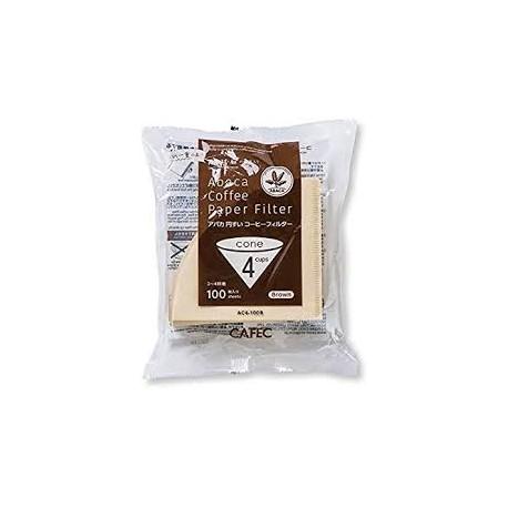 Filtro Papel Cafec Abaca sin blanquear 4 tazas (100 unidades)